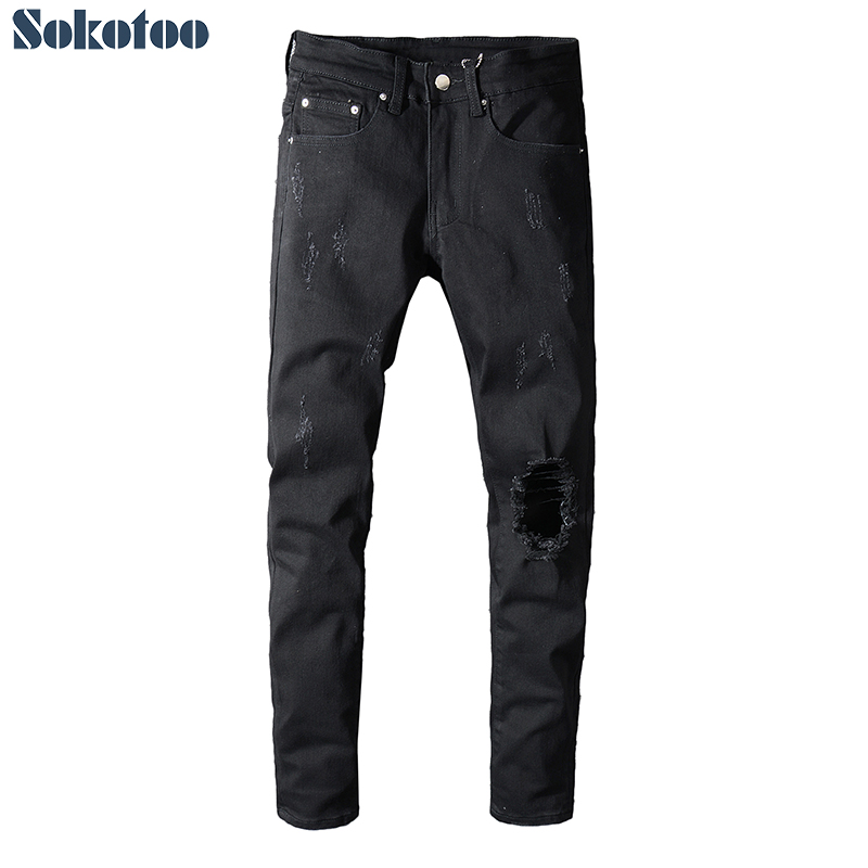 Sokotoo Men's Black Holes Ripped Stretch Denim Jeans Slim Skinny Distressed Pants High Quality