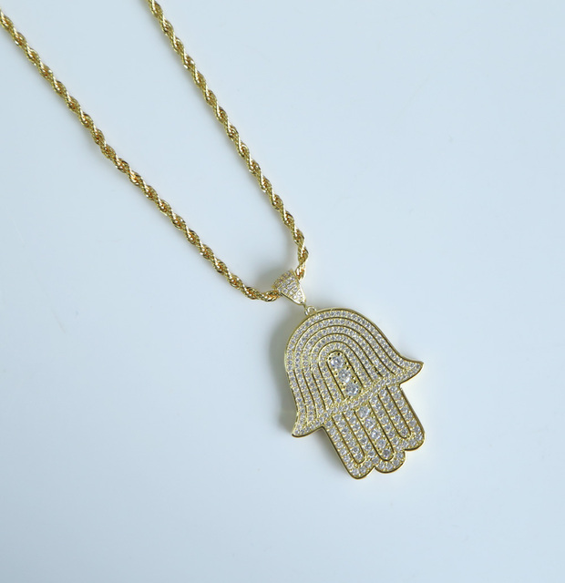 front pendant pendants yg gold diamond hamsa