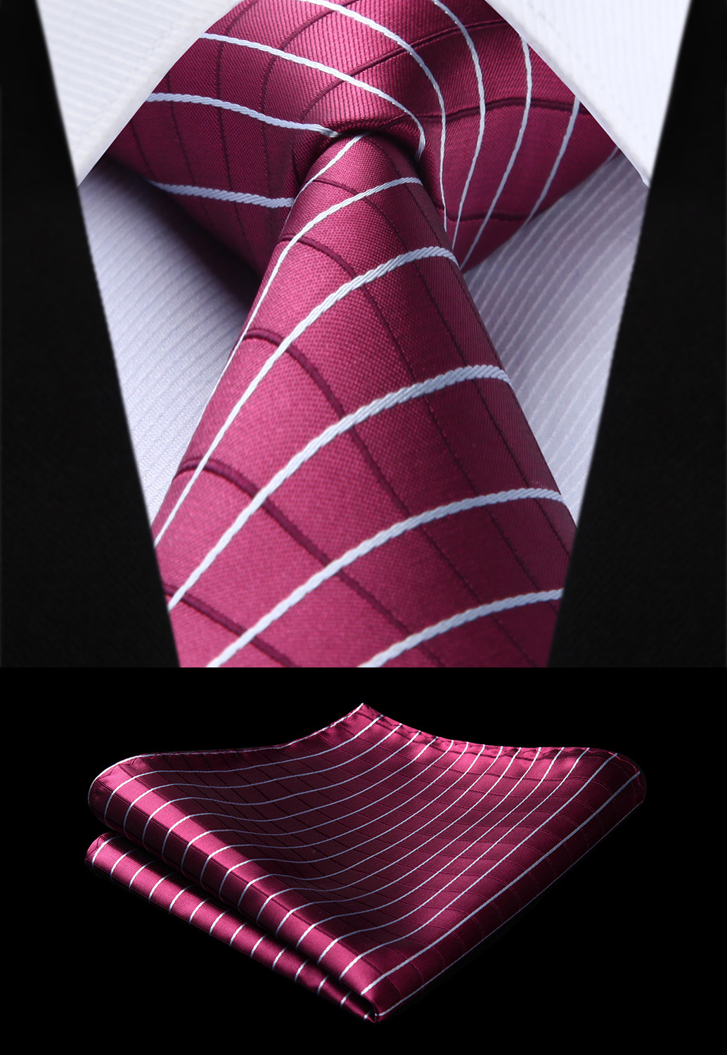 Party Wedding Classic Fashion Pocket Square Tie Woven Men Tie Burgundy White Plaid & Check Necktie Handkerchief Set#TC728U8S