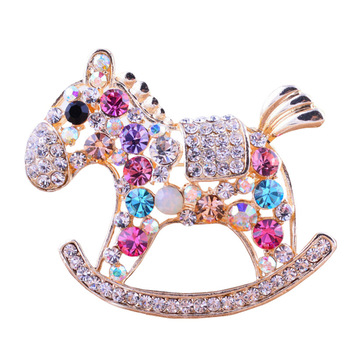 3 Colors For Choose Cute Colorful Little Horse Brooches For Women Luxury Fine Jewelry  Gold Plated High Quality Gift