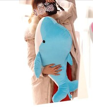 big lovely dolphin plush toy stuffed dolphin pillow birthday gift toy about 75cm blue