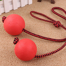 New Rope with Solid bouncing ball Pet Dog Chew Toy Training Supplies Can Float in Water Interactive Toys Bounce Ball Squeaky toy(China)