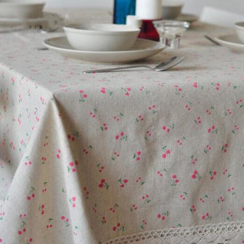 Hot Pastoral Style Little Cherry Flower Printed Cotton Linen Tablecloths  Tea Table Cloth Cover Family Kitchen