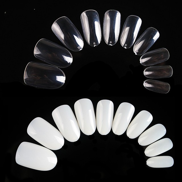 500pcs/pack Natural Clear White Color Oval Stiletto Pointy Full False Nail Tips Almond Shape Acrylic Nail Art