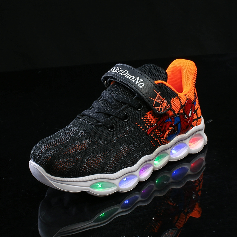 Lsysag LED Kids Shoes Spiderman Glowing Sneakers Boys Shoes Fiber Optic Shoes Chaussure Enfant Spor Ayakkabi Buty LED Kinder