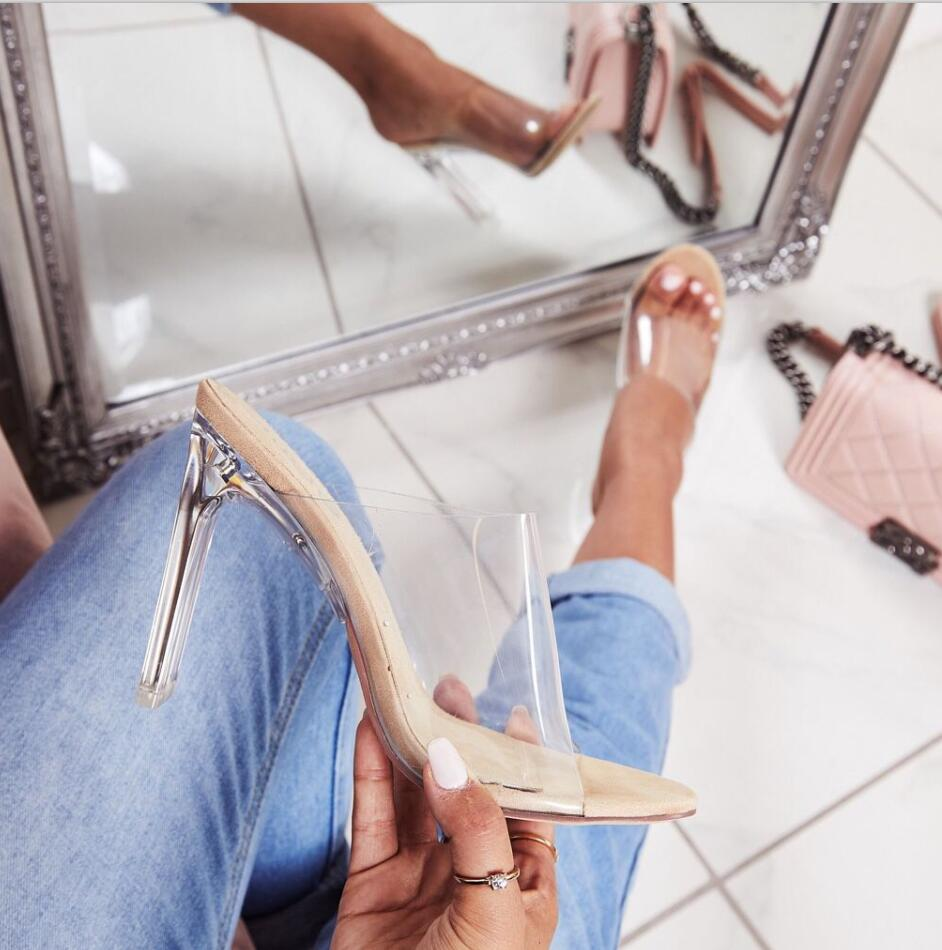 HTB1Ez4vao rK1Rjy0Fcq6zEvVXac Aneikeh 2019 New PVC Jelly Sandals Crystal Open Toed Sexy Thin Heels Crystal Women Transparent Heel Sandals Slippers Pumps