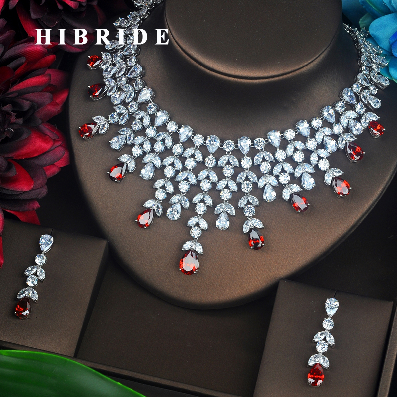 HIBRIDE Luxury Red Water Drop Cubic Zirconia Jewelry Set For Bride Flower Shape Necklace Set Wedding Accessories Wholesale N-497 hibride luxury top quality white green water drop shape cubic zirconia jewelry sets white gold color necklace earrings n 057