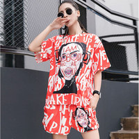 TREND Setter 2018 Summer Letters Graffiti Red T Shirt and Shorts Sets Women Hip Hop Style Loose Tops Printing T Shirt