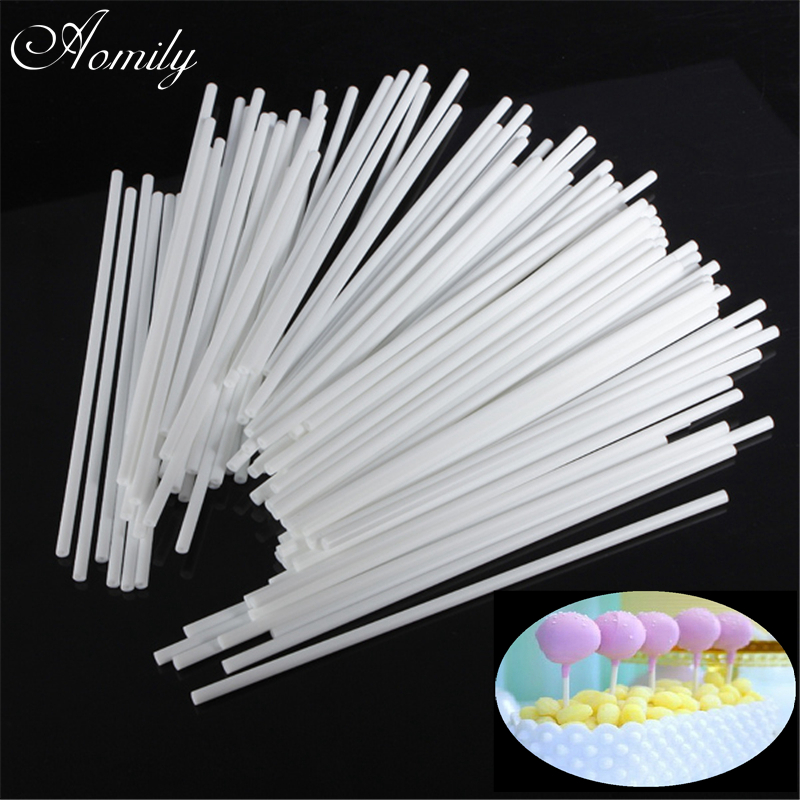 Aomily 100pcs/Set Lollipop Sticks DIY Cake Plastic Lolly Candy Chocolate  Modelling Dessert Cake Mould Stand Decorating Tool