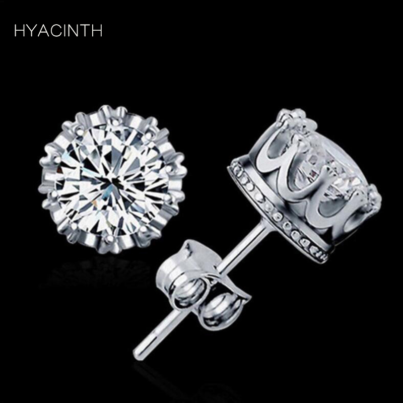 HYACINTH Fashion Stud Earrings Dainty Small Snowflake Clover Flower Heart Wing Bow Crown Zircon Earrings for Women Tiny Jewelry pair of stylish rhinestone clover stud earrings for women