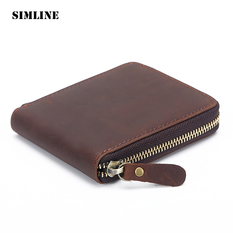High Quality Vintage 100% Genuine Crazy Horse Cow Leather Men Zipper Short Wallet Wallets Purse With Coin Pocket Male Carteira crazy horse leather men wallet slim vintage genuine leather long purse cowhide bifold wallets with coin pocket and card holders