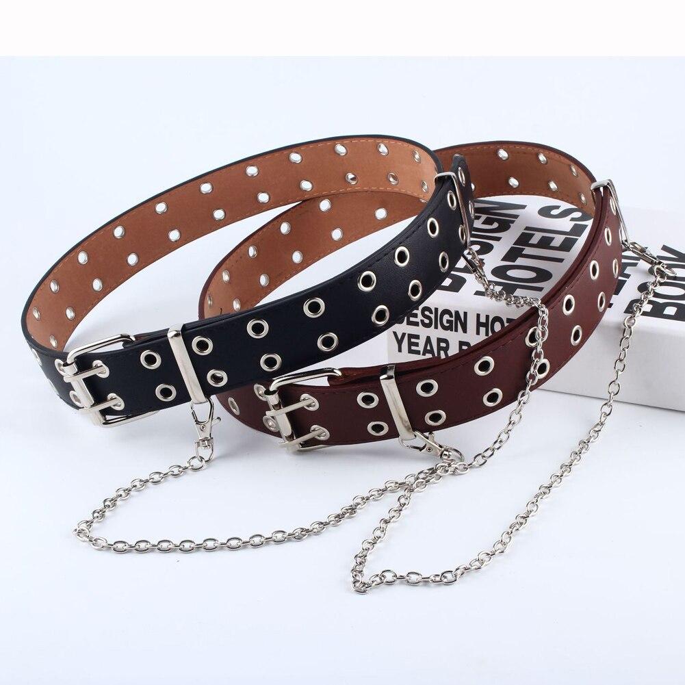 Women Punk Chain Fashion   Belt   Adjustable Black Eyelet Grommet Leather Buckle female   belt   cinturones para mujer