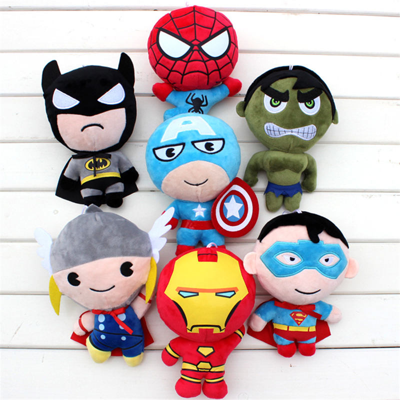 Retail 2016 Plush toys Avengers Iron Man Hulk Thor Spiderman Batman Superman Captain America boy Christmas birthday gift 20cm