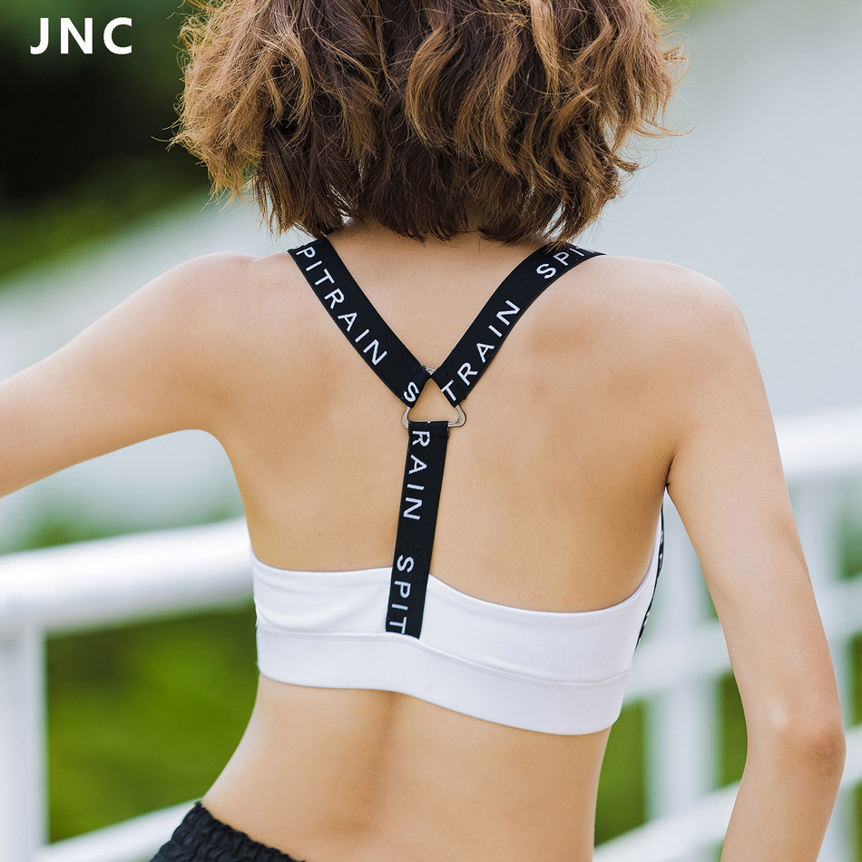 748b049c0a Women s Medium Support Strappy White Energy Padded Sport Bra Training Tank  Top Push up Running Underwear Stretch Seamless Corset-in Sports Bras from  Sports ...