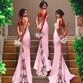 Robe Demoiselle D'honneur Querida Até O Chão Lace Sereia Vestidos Dama de honra 2017 Cintas de Espaguete Vestidos de Dama de honra Longo