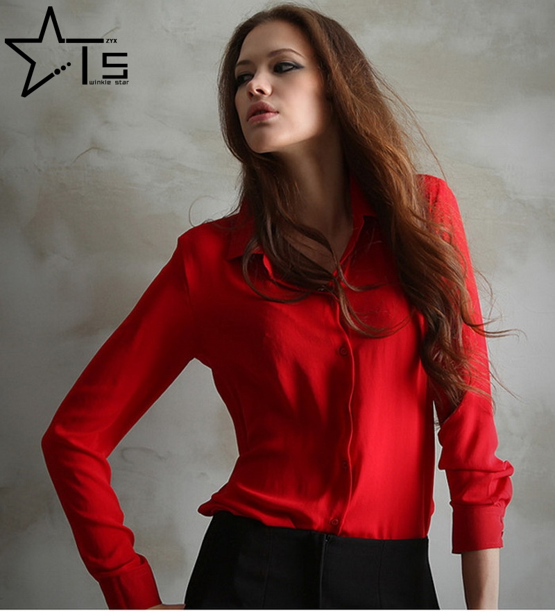 Twinkle Star Work Wear 4 Colors 2016 Elegant Ladies Formal Office Blouse Plus Size XXL Women Shirt Chiffon Feminina Tops