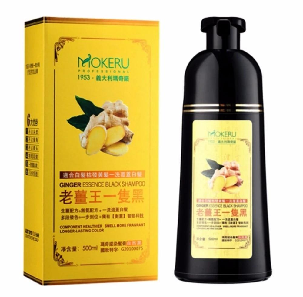mokeru naturel gingembre cheveux colorant shampooing noir facile a utiliser inoffensif cuir chevelu longue duree couleur des cheveux noirs mourir anti