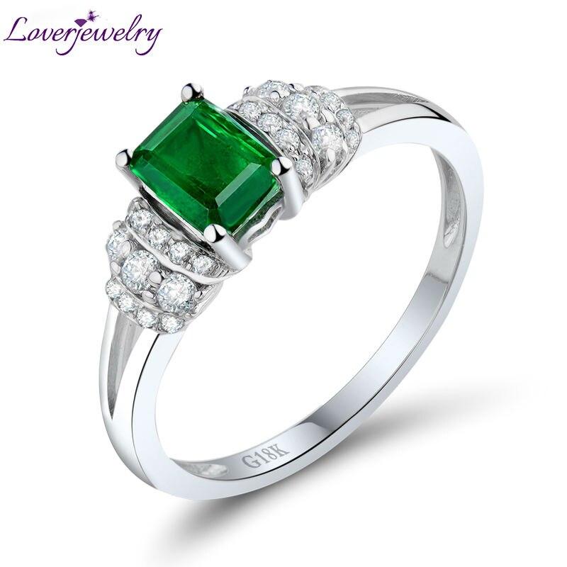 LOVERJEWELR Natural Green Emerald Wedding Ring Solid 18K White Gold Shinning Diamond...