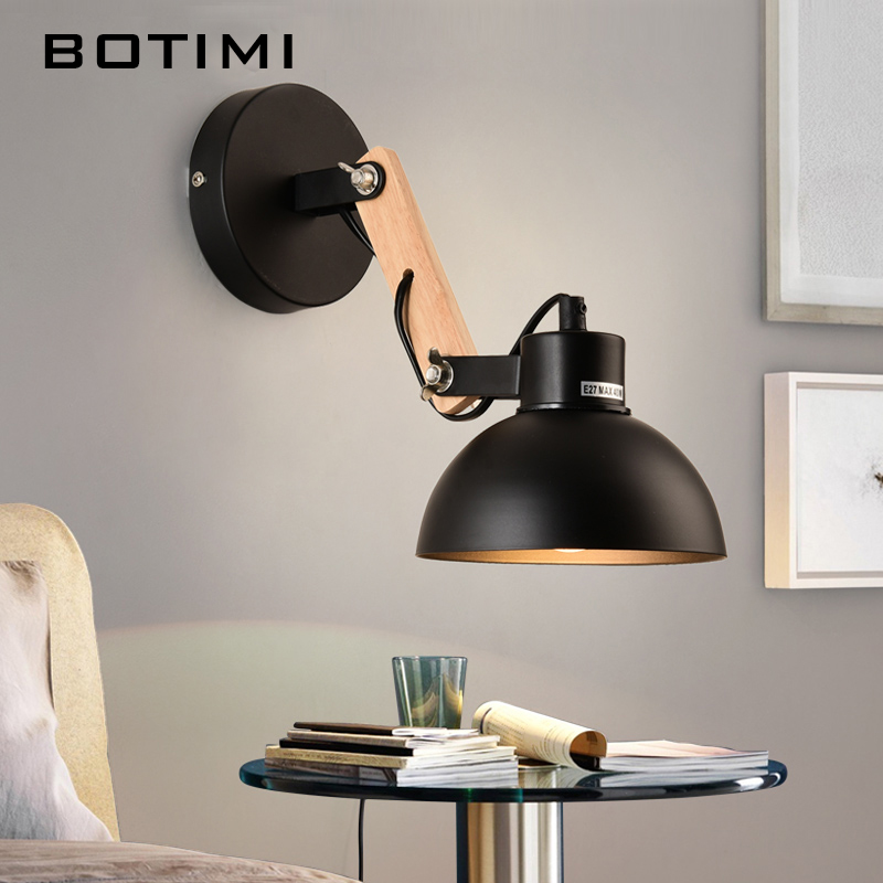BOTIMI Nordic Wooden Wall Light Hotel Reading Wall Sconce Modern Functional Wall Lamp For Bedroom White Black Bedside Lights botimi nordic led table lamp with metal lampshade for bedroom white bedside desk lights black reading lamps wooden luminaria