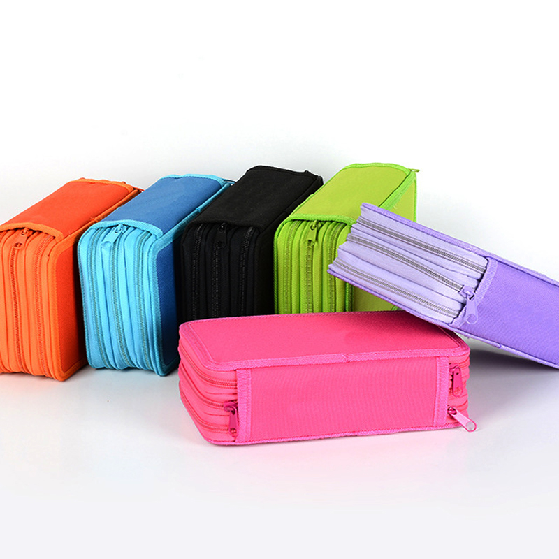 3&4 Layers Pencil Case Large Storage Pen Box Simple Design Zipper Bag For Students Gift School Stationery Supplies Pencil Box