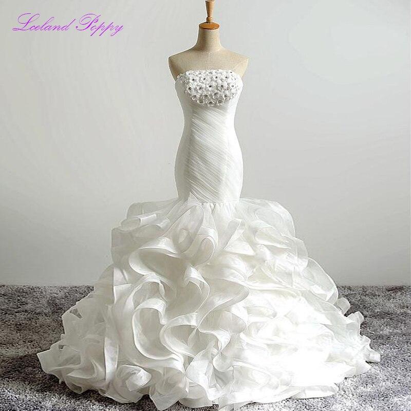 New Arrival Vestido De Novia Women's Mermaid Wedding Dresses Strapless Ruffled Floor Length Pleated Bridal Dress With Flowers