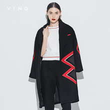 VING 2017 Women Coat Pure Color Single Wool Blends Big Size Women Coat OL Style Shirts Long Sleeve Female