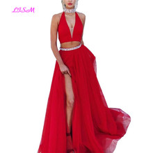 Red Long Prom Dresses with Beading Crystal A-Line Halter V-Neck Evening Formal Dress Sexy Slit Two Pieces Gowns vestidos