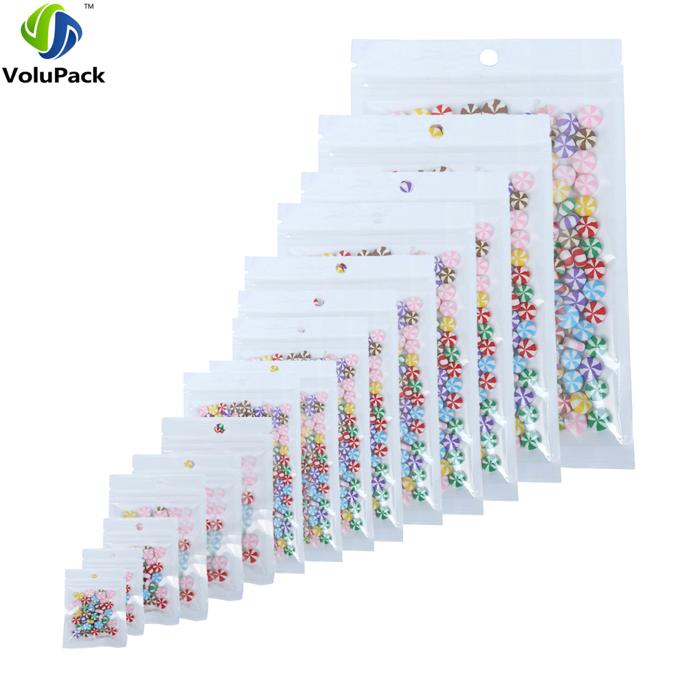 100pcs Translucent Clear/White Multi Sizes Packaging Plastic Package Bags Self Seal Stor ...