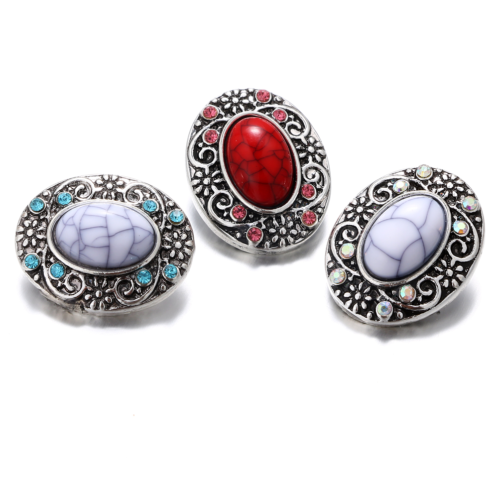 New Vintage Silver Snap Jewelry Oval Stone Ginger Snap Buttons DIY 18MM Snap Bracelets Neklace Button Women Jewelry