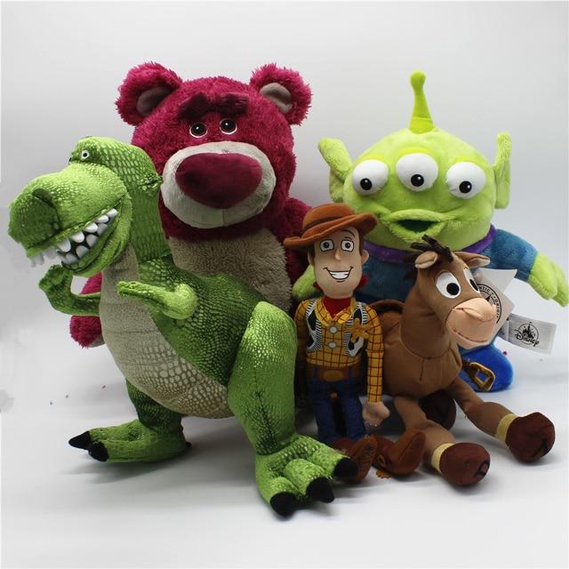 1 pcs Original woody de Toy Story Lotso Morango Urso Bullseye Alienígena Rex dinossauro Brinquedos Crianças Brinquedos de Pelúcia Super Macia