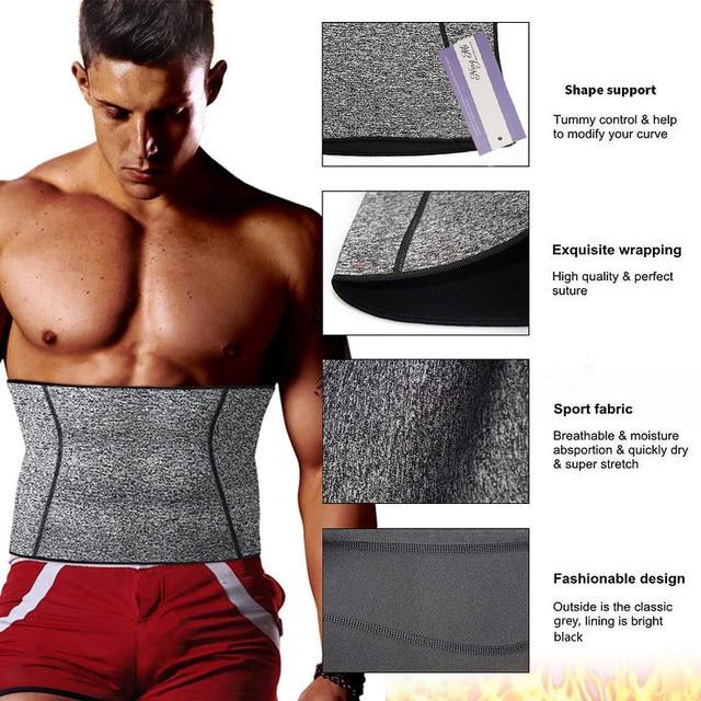 NINGMI Men Body Shaper Waist Trainer Fat Compression Brace Modeling Belt Tummy Trimmer Strap Slimming Cincher Neoprene Shapewear 3