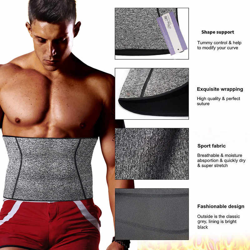 a54e20d2bd ... NINGMI Men s Hot Shaper Waist Trainer Fat Compression Body Modeling  Belt Tummy Trimmer Strap Slimming Cincher ...