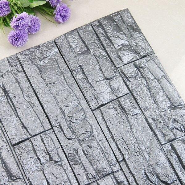 DIY 3D кирпичная ПЭ Пена наклейки на стену панели комнаты наклейка каменное украшение рельефная гостиная детская безопасная спальня домашний декор - Цвет: Silver gray 70x38 cm