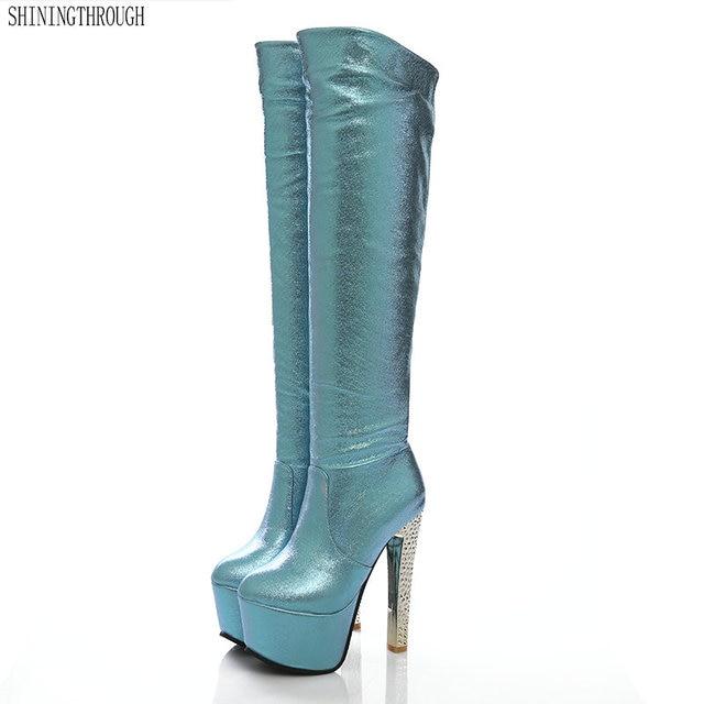 2019 جديد 15 سنتيمتر سوبر عالية الكعب النساء الأحذية 6 سنتيمتر منصة حذاء برقبة للركبة السيدات فستان نادي أحذية رقص الذهب الفضة الأزرق