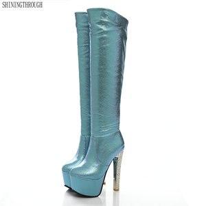 Image 1 - 2019 חדש 15cm סופר עקבים גבוהים נשים מגפי 6cm פלטפורמת הברך גבוהה מגפי גבירותיי שמלת מועדון ריקודים זהב כסף כחול