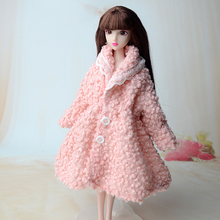 Doll Accessories Winter Wear Warm Fur Coat Dress Clothes For Barbie Dolls Fur Doll Clothing For