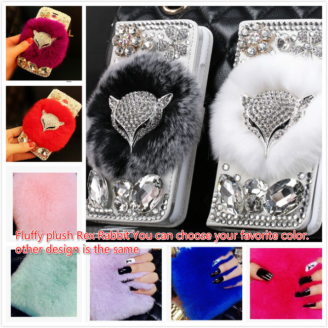 imágenes para Zorro de lujo de diy 3D Del Diamante de Bling Cubierta de la Piel de Conejo Real Para Apple iPhone7 7 plus 6 6 s más 6 más 5 5S Flip Cartera de Cristal de Nuevo caso