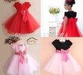 Chilren vestido 2014 de moda bowknot condole la correa del vestido de los niños de la princesa de las flores party girls dress 4 color
