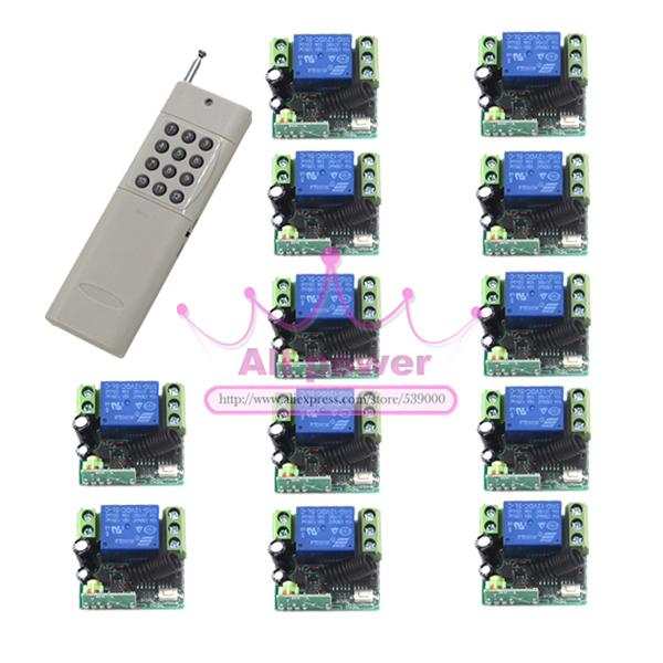 1000m Long Range Remote Control Switch DC 12V 1 CH 10A Relay 12 Receiver 1 Transmitter Fixed Light Lamp Wireless Switch 315/433 small ac220v remote control switch long range transmitter receiver 200 3000m lamp light led remote lighting switch 315 433 92mhz