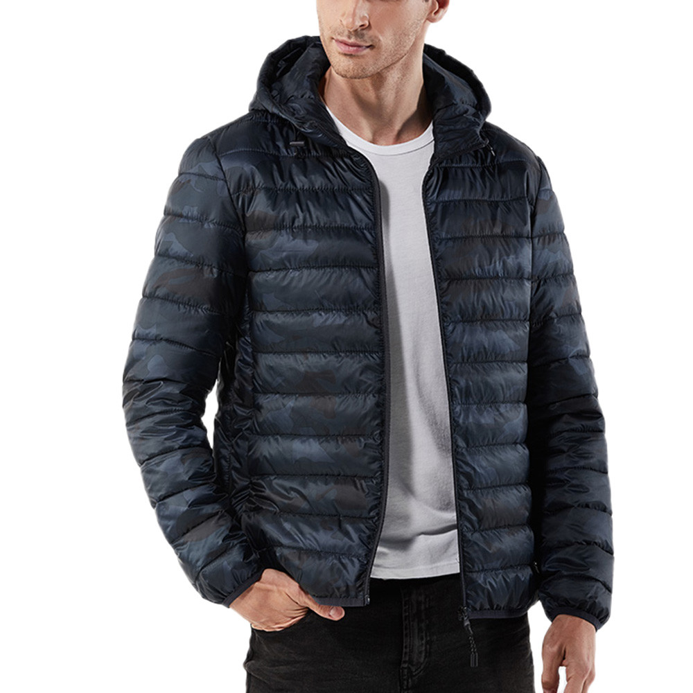 Men Winter Warm Hooded Zipped Thick Solid Fleece Cotton-Padded Coat