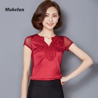 Summer T Shirt Womens Fashion Slim Silk Lace Tops Tees Short Sleeve Hollow Out Casual Ladies