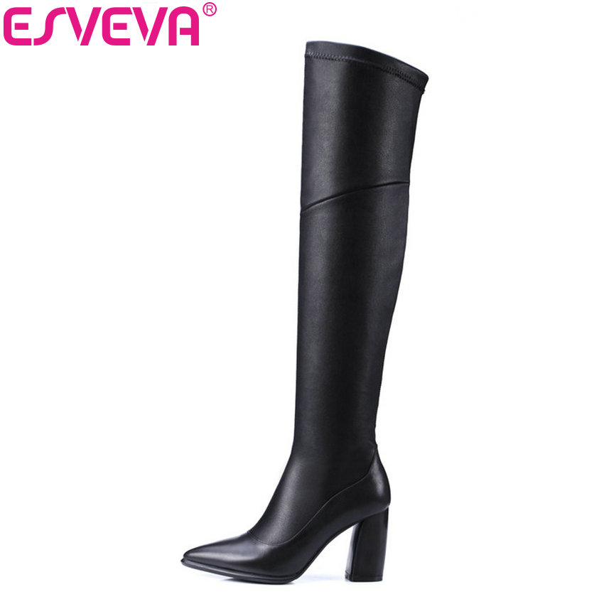 ESVEVA 2018 Women Boots Sexy Pointed Toe Cow Leather+Stretch Fabric Over Knee High Boots Western Square Heel Shoes Size 34-39 недорого