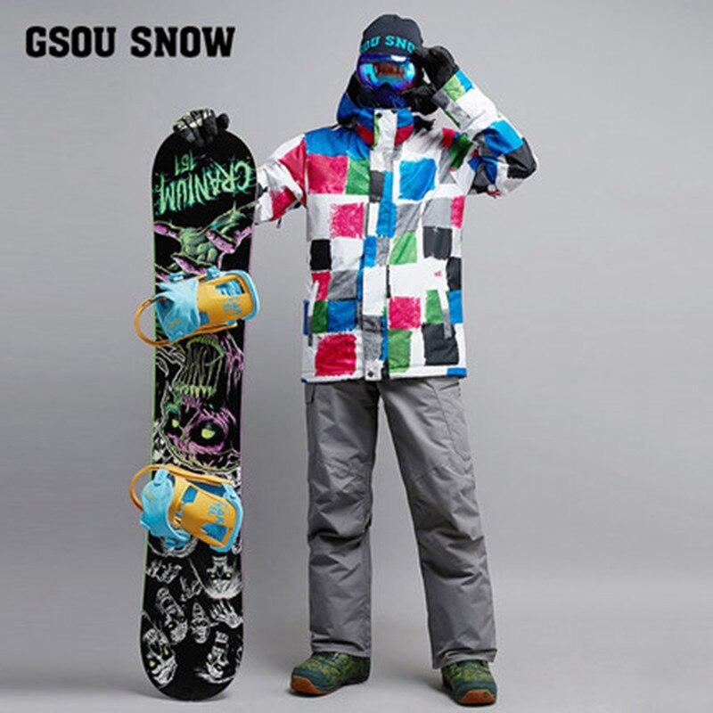 2019 hommes veste de Ski pantalon Snowboard costume coupe-vent imperméable à l'eau hiver en plein air Sport porter mâle Ski équitation costume ensemble Super chaud