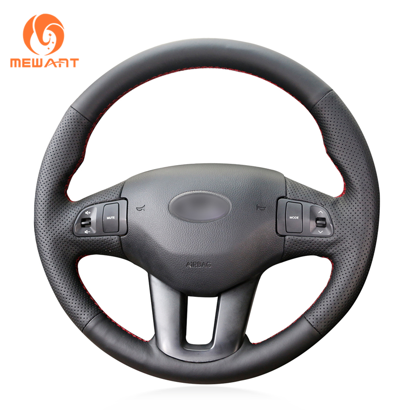 MEWANT Black Artificial Leather <font><b>Car</b></font> Steering <font><b>Wheel</b></font> Cover for <font><b>Kia</b></font> <font><b>Sportage</b></font> 3 2011-2014 <font><b>Kia</b></font> Ceed Cee'd 2010-2012 image