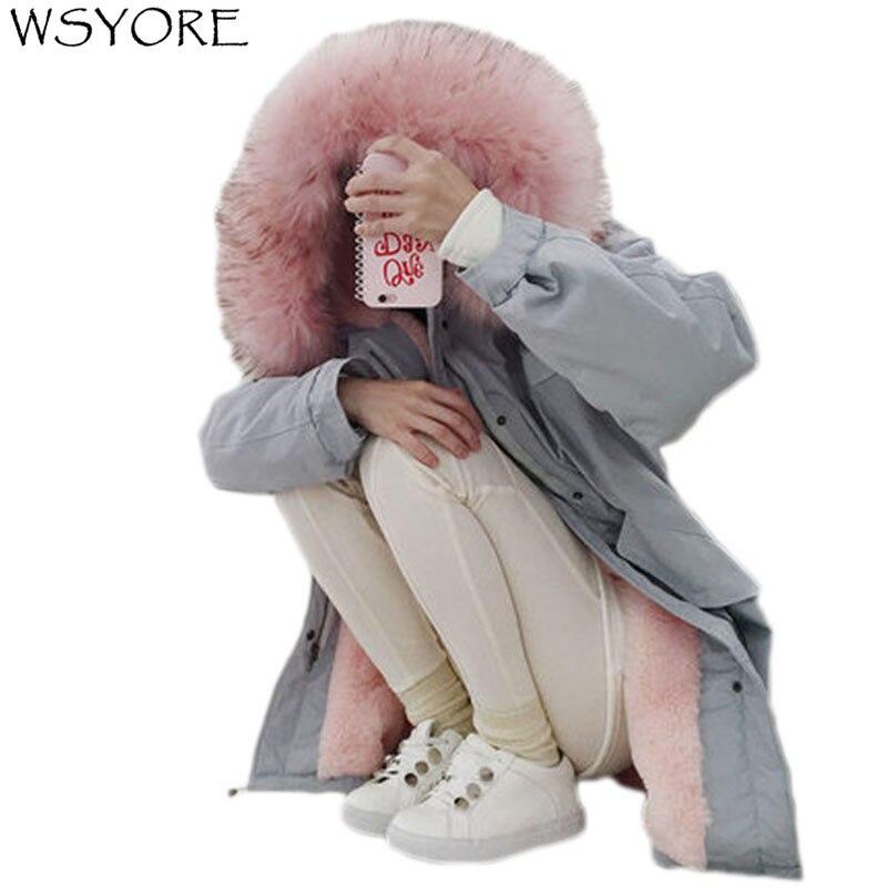 WSYORE Parka 2018 Nouvelle Veste D'hiver Femmes Col De Fourrure Veste À Capuche Velours Épais Manteau Femelle Lâche Casual Vestes NS458