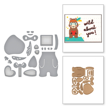 Bear With Gift Set Metal Cutting Dies For DIY Scrapbooking Embossing Album Wedding Paper Cards Making Crafts New 2019 Dies teddy bear and plush rabbit metal cutting dies for diy scrapbooking embossing paper cards making crafts templates new dies 2019