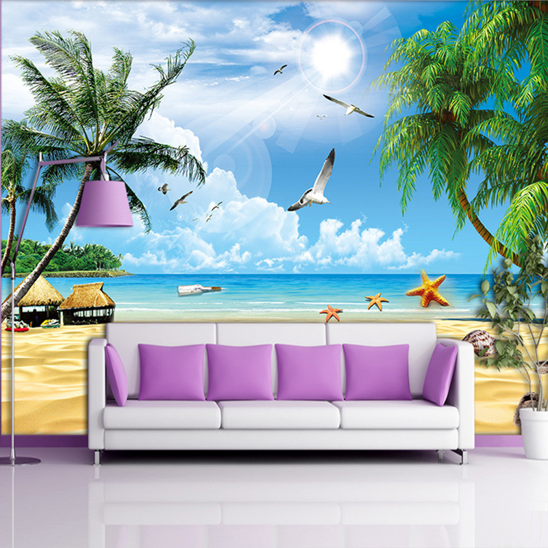 Custom 3D Mural Wallpaper For Wall Holiday Beach Seascape Plam Trees Photo Non-woven Wall Cover For Living Room TV Sofa Backdrop