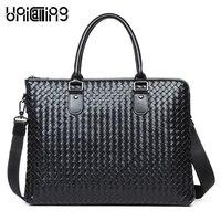 Luxury Men Brand Leather Handbag Exquisite Handmade Knitting Craft Genuine Leather Men Briefcase Bag Stylish Laptop