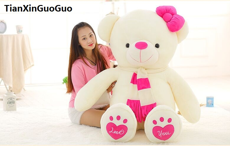 stuffed fillings love you bear plush toy large 140cm white teddy Bear,pink scarf bear doll hugging pillow birthday gift b1015 150cm bear big plush toys giant teddy bear large soft toy stuffed bear white bear i love you valentine day birthday gift