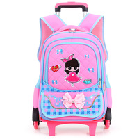 Hot Sales Removable Children School Bags With 2 6 Wheels Child Climb Stair Trolley Backpack Kids